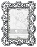 Malden International Designs Sabella Lace Metal Picture Frame, 4x6, Silver