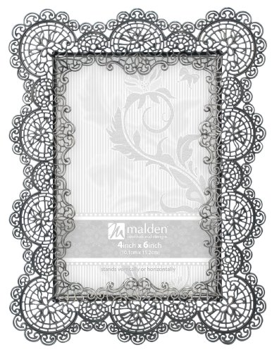 malden international designs sabella lace metal picture frame 4x6 silver