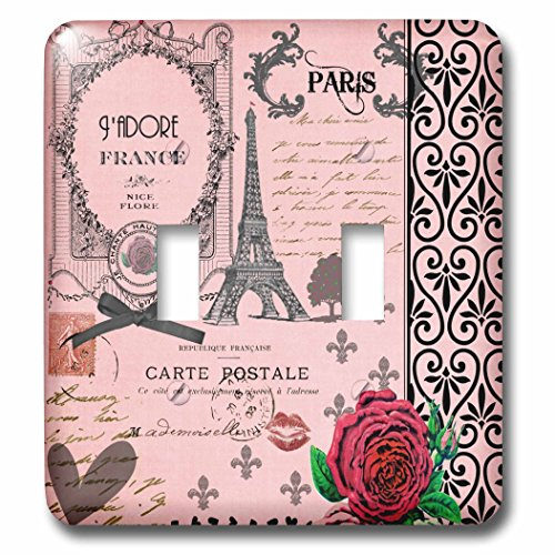 3dRose  lsp_76593_2 Stylish Vintage Pink Paris Collage Art Eiffel Tower Red Rose Girly Gothic Black Bow and Swirls Double Toggle Switch (Swirl Toggle)