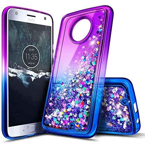 Moto X4 Case, NageBee Glitter Liquid Waterfall Floating Sparkle Bling Diamond Shockproof Women Kids Girls Cute Durable Luxury Clear Case for Motorola Moto X4 / Android One Moto X4 -Purple/Blue