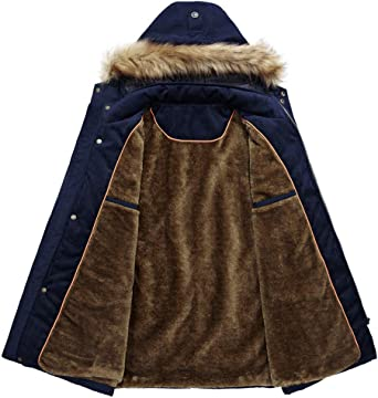 HKDGID Mens Winter Warm Military Jacket Coats Faux Fur Lined Solid Blouse Overcoat Outwear with Hood Pocket Plus Size