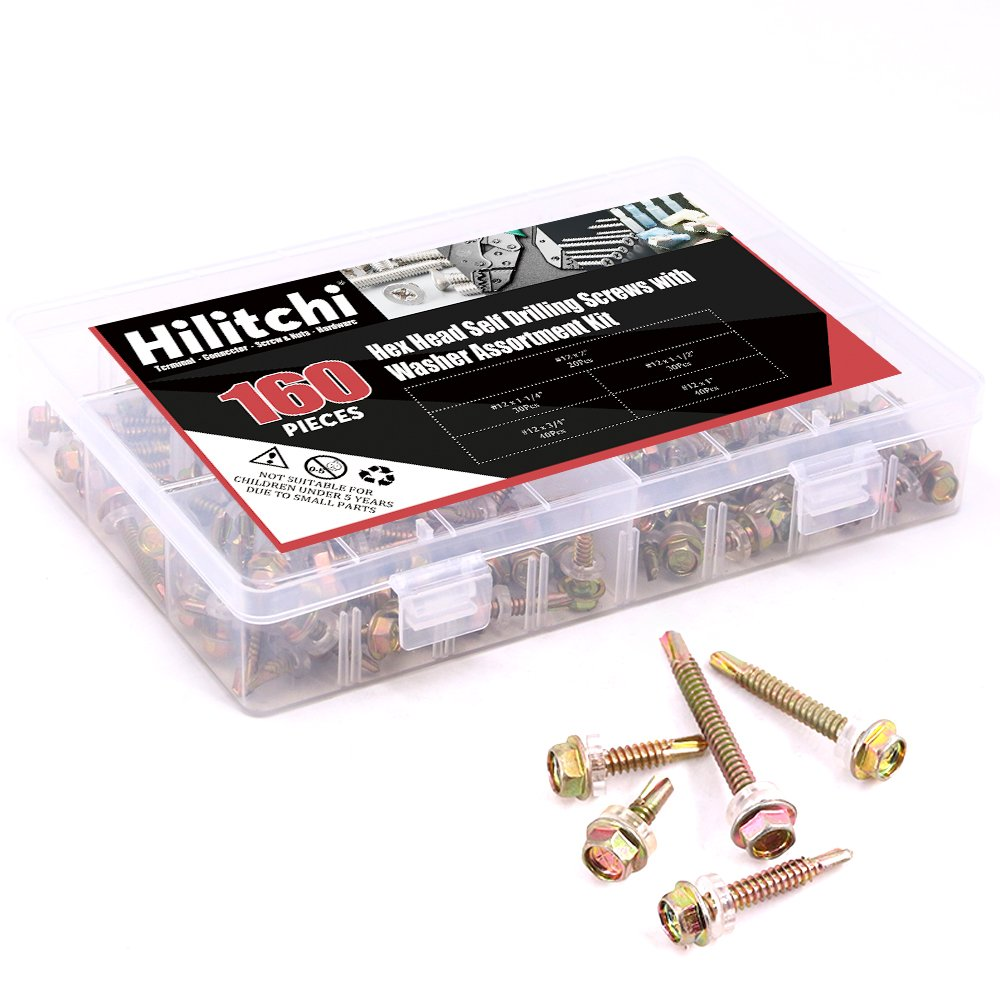 Self Driller Zinc Plated Carbon Steel 160 Pieces Hilitchi #10 Hex Washer Head Self Drilling Sheet Metal Tek Screws Assortment Kit Set with Drill Point