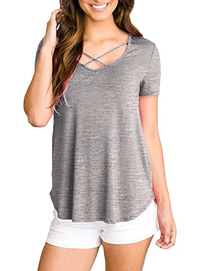 d9269150 Women V Neck Loose Fit Cotton Swing Tee Shirts Criss Cross Front Short  Sleeve Casual Summer