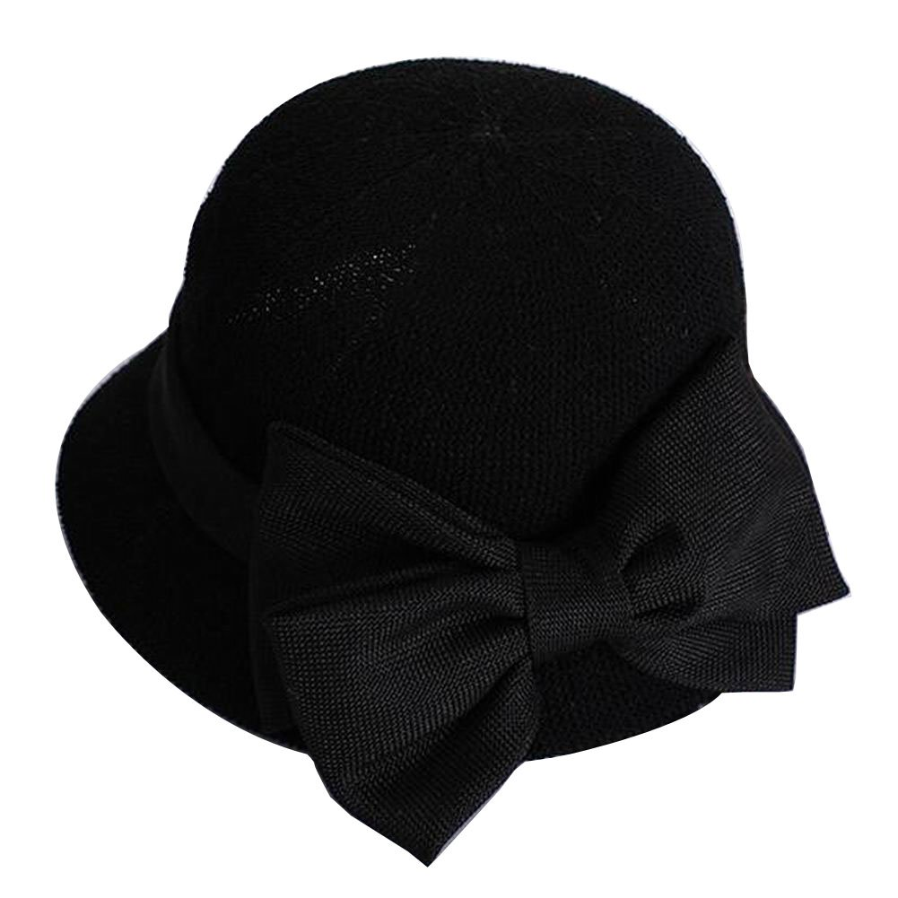 [Bow Black] Lady Sun Hat Elegant Straw Hat Top Hat Dress Hat Beach Hat Black Temptation