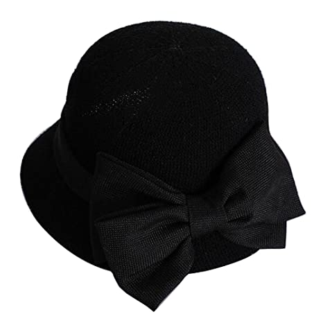 32a89eb3 Amazon.com : [Bow Black] Lady Sun Hat Elegant Straw Hat Top Hat ...