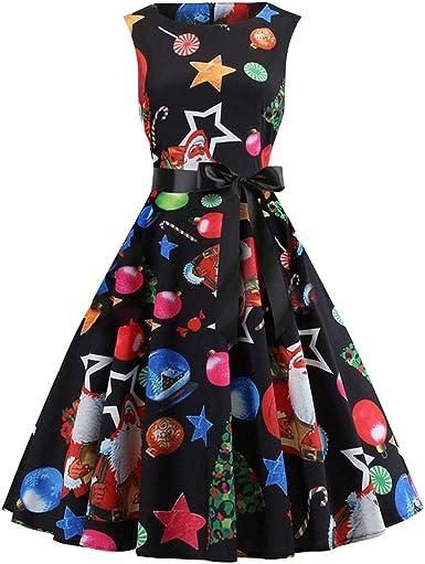 ASHOP Vestido de Navidad Mujer, Vestido para Mujer Navidad Xmas ...