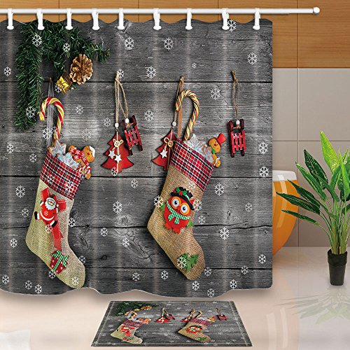 NYMB New Year Decor, Christmas Stocking and Toys Hanging on Rustic Wooden, 69X70in Mildew Resistant Polyester Fabric Shower Curtain Suit With 15.7x23.6in Flannel Non-Slip Floor Doormat Bath Rugs Wooden Christmas Decor