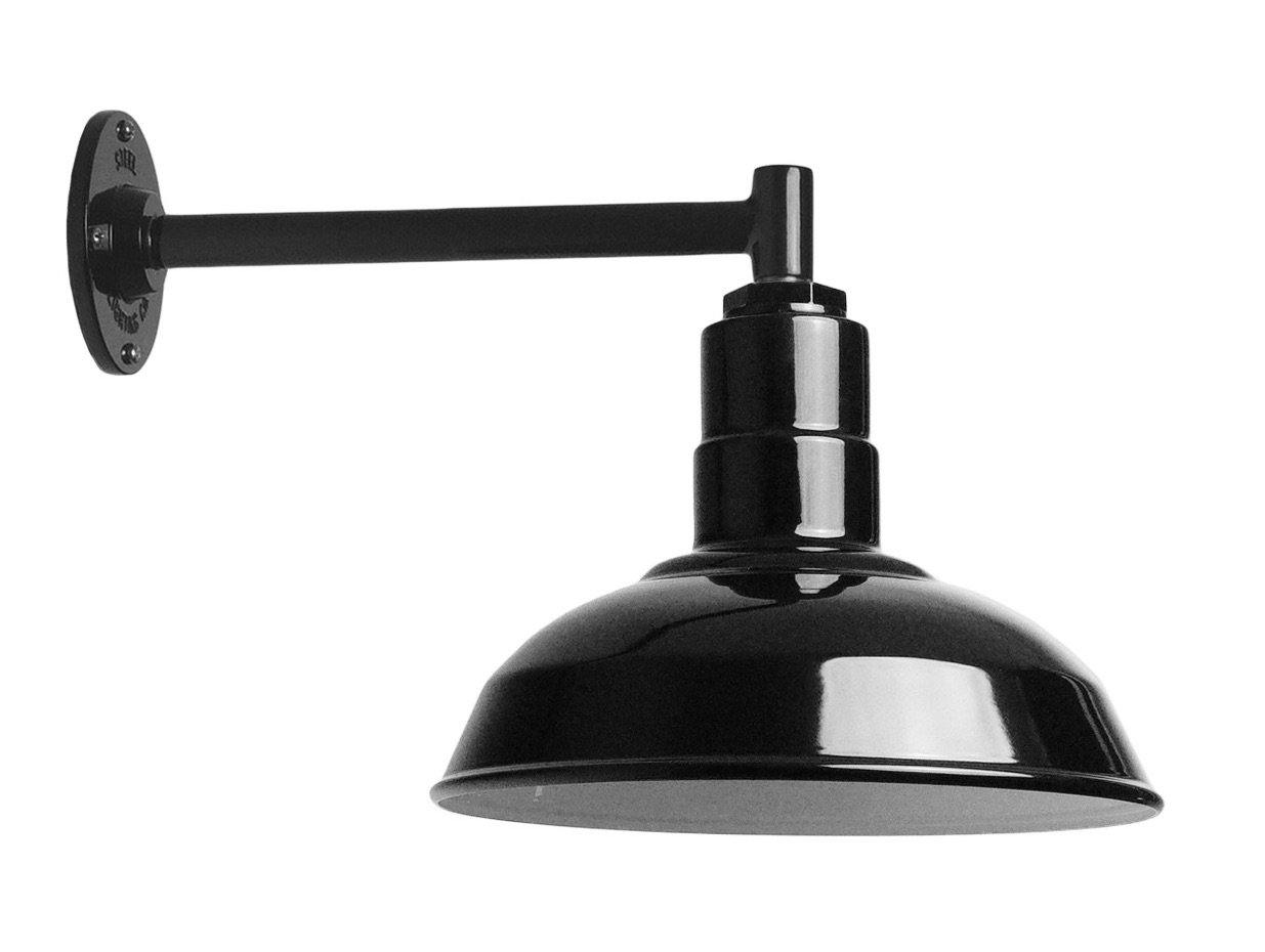 The Standard Light Kit   Black 12 Inch Standard Steel Shade   11 Inch Short Stem Wall Mounted Steel Arm   Made in the USA by Ark Lighting