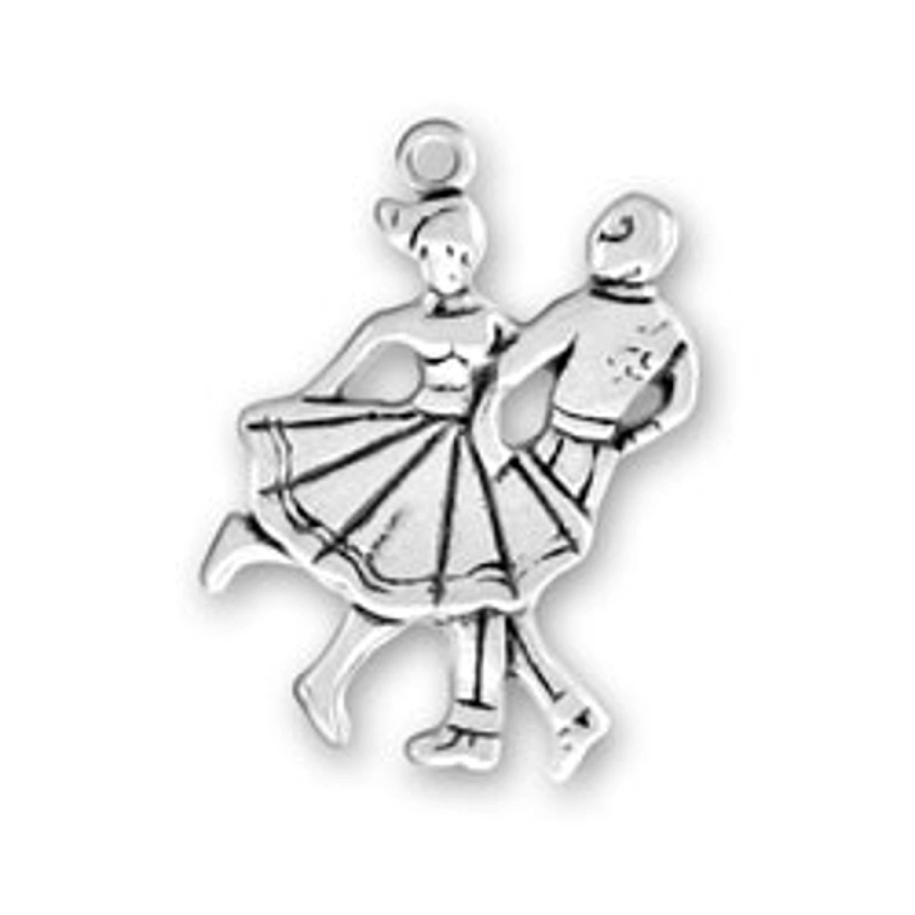 Sterling Silver Womens 1mm Box Chain Square Dancing Or 50s Sock Hop Couple Dancing Pendant Necklace
