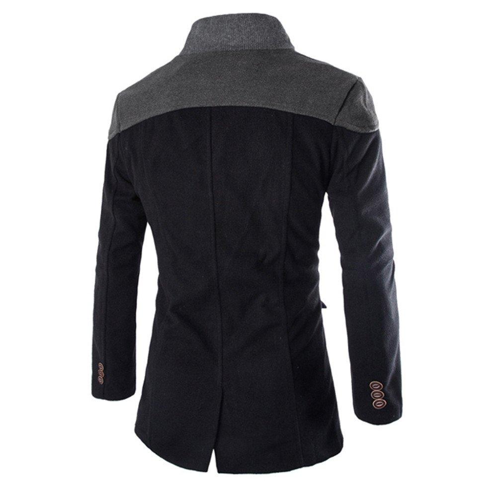 Kobay Blouson Homme Manteau Hiver Chaud Trench-Coat Long Bouton de survêtement B-noir