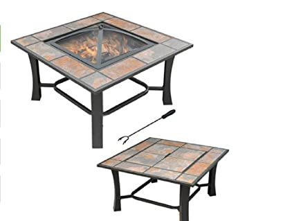Amazon.com: Outdoor Table parte superior Fire Pit mesa de ...