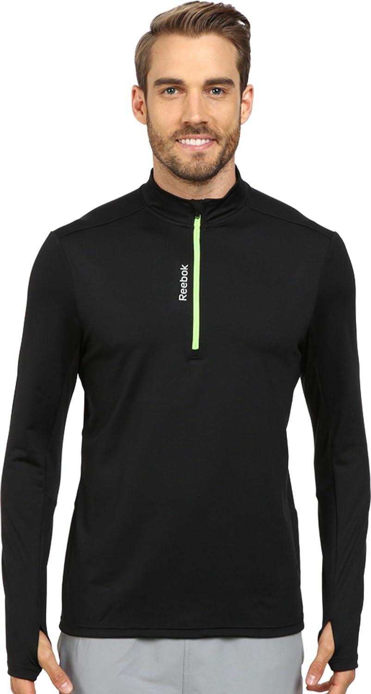 Reebok Running Essentials Long Sleeve 1 / 4 Zipプルオーバー B00IU5H4M4ブラック 2XL