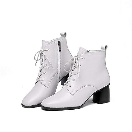 MIAOMIAOWANG Botines para Mujer Zapatos de Mujer Elegantes con Cordones y Tacones Impermeables (Color :