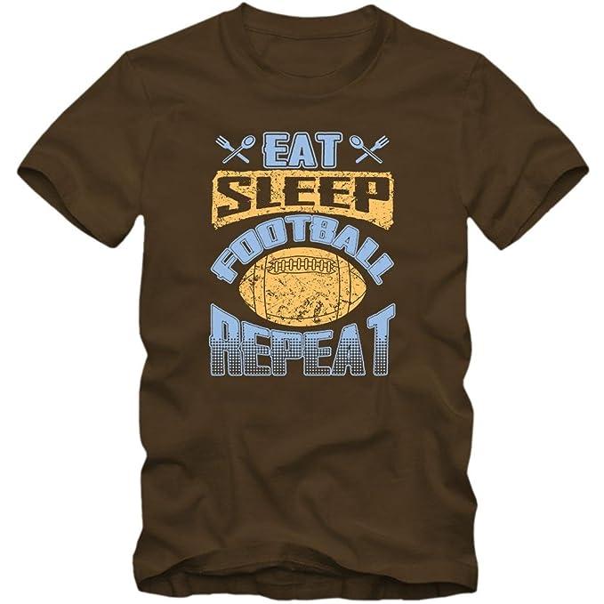 Eat Sleep Football Repeat T-Shirt | Estilo de Vida | Sudaderas con Capucha Fútbol | EE.UU. | Hombres | Camiseta: Amazon.es: Ropa y accesorios