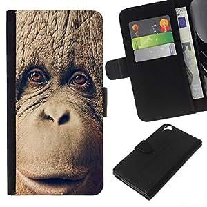 """JackGot ( Chimpancé Chimpancé Mono"""" ) HTC Desire 820 la tarjeta de Crédito Slots PU Funda de cuero Monedero caso cubierta de piel"""