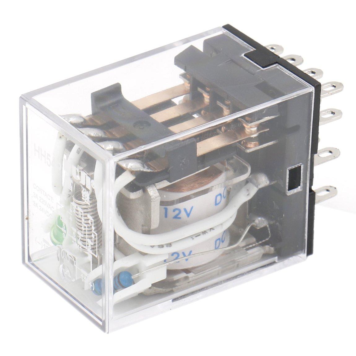 heschen Gereral prop/ósito alimentaci/ón del rel/é HH54P-L 12/VDC bobina 3/A 220/VAC//24VDC 4PDT 14/pines terminales indicador LED