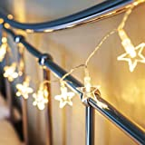 String Lights,XFT-CK 33ft/10m 70 Pendant String Lights, Copper Wire Light Star String Lights for Outdoor Landscape Patio Garden Camping Christmas Party Wedding (Star-Warm White)