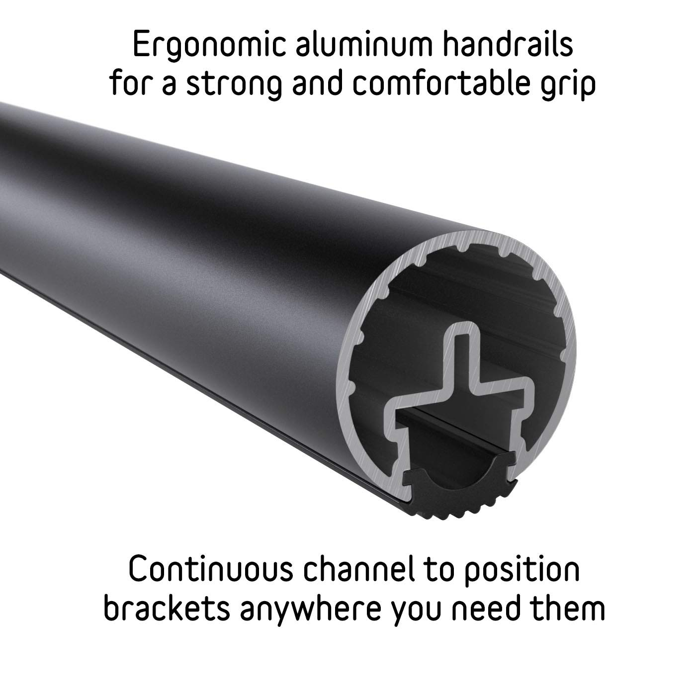 1.6 Round 4 ft for Promenaid Handrail System Only Satin Black Anodized Aluminum Handrail Tubing with Anti-Slip Insert