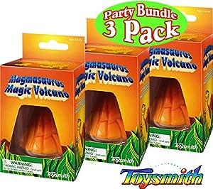Toysmith Magmasaurus Magic Dinosaur Volcano Party Set Bundle - 3 Pack