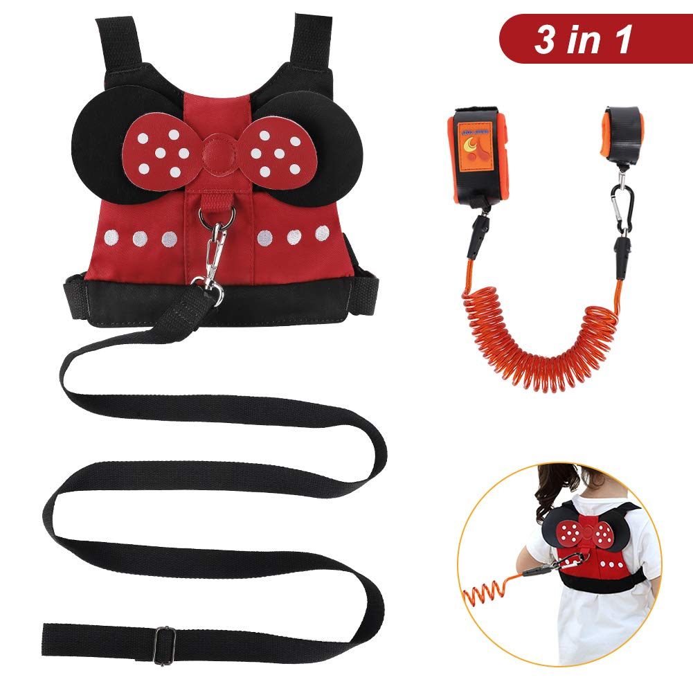 Cute Child Safety Harness Baby Anti Lost Tether Strap Kid Walking Belt for 1-5 Years Boys and Girls to Zoo or Mall Accmor 3 in 1 Toddler Safety Harness Leash Wrist Link