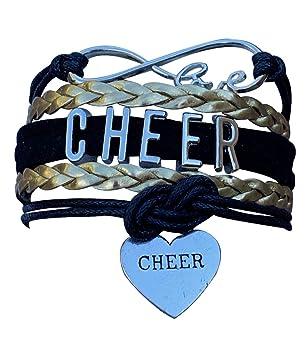 Sportybella Cheer Charm Bracelet Orange//Black Girls Infinity L8ve Adjustable Cheerleading Jewelry in Team Colors for Cheerleader