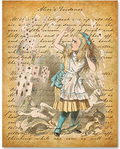 Alice in Wonderland and the Cards - 11x14 Unframed Alice in Wonderland Print - Makes a Great Gift Under $15 for Disney Fans or Girls Room
