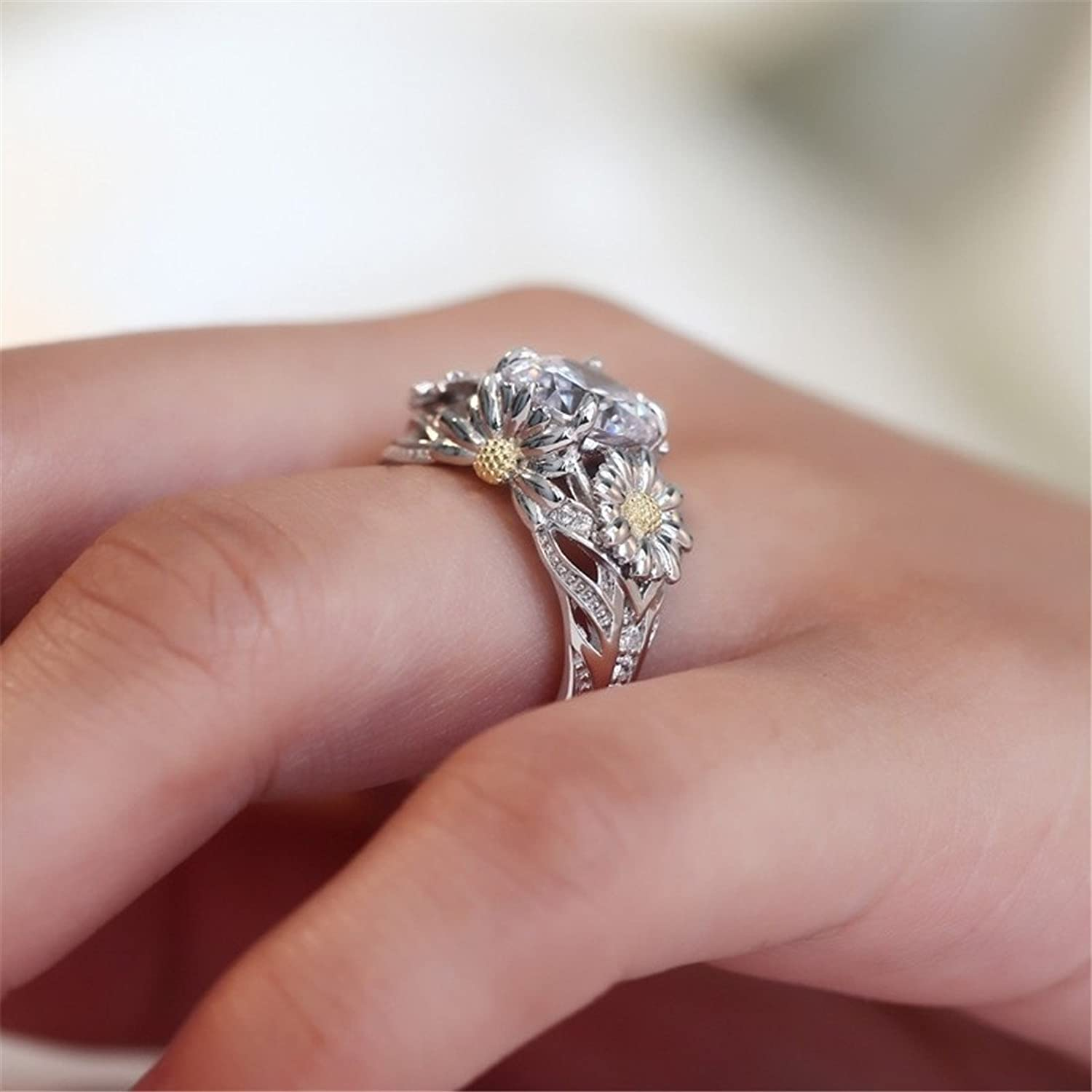 Amazon.com: Dalaran Sunflower Cubic Zirconia Ring for Women Wedding ...