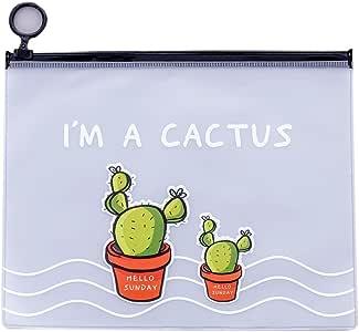 Estuche para lápices de cactus, de PVC, de gran capacidad, organizador creativo para guardar artículos de papelería, para oficina, escuela, niños, mujeres, niñas, regalo, color Two Cacti 17.1*21.2cm: Amazon.es: Oficina y papelería