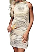 Jeasona Women's Bathing Suit Cover Up Crochet Backless Bikini Swimsuit Dress