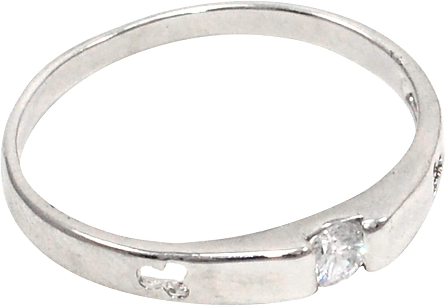 Saamarth Impex Cubic Zircon 925 Silver Plated Ring Sz 9.5 PG-108118