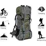 Mountaineering Hiking Backpack Trekking Bag Outdoor Sports Daypack 60L Ultra Large Capacity Waterproof for Camping Fishing Backpacking Climbing Hunting Traveling Green