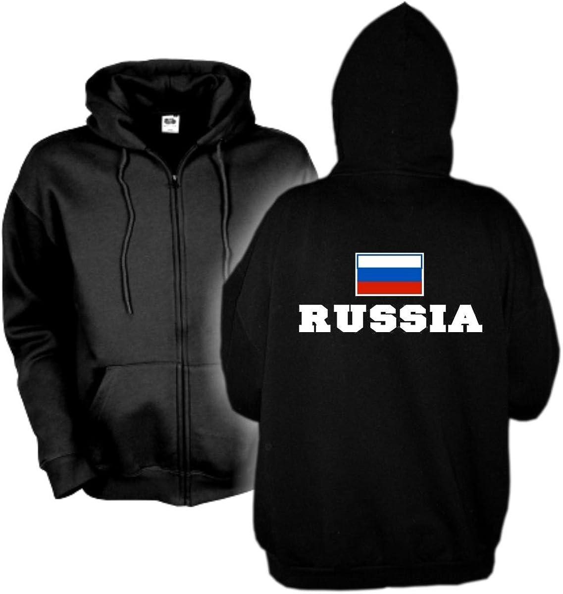 Kapuzenjacke Russland Russia, Flagshirt, bedrucktes Hoodie Kapuzensweat Kapuzenpulli mit Kängurutaschen große Größen S-6XL (WMS02-52e) Mehrfarbig