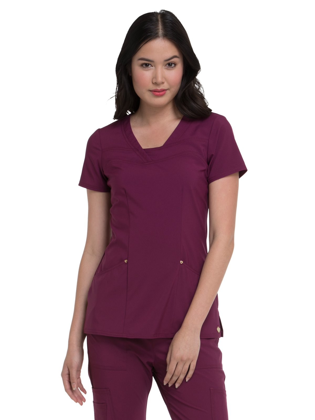 HeartSoul Love Always by Women's V-Neck Solid Scrub Top Small Wine