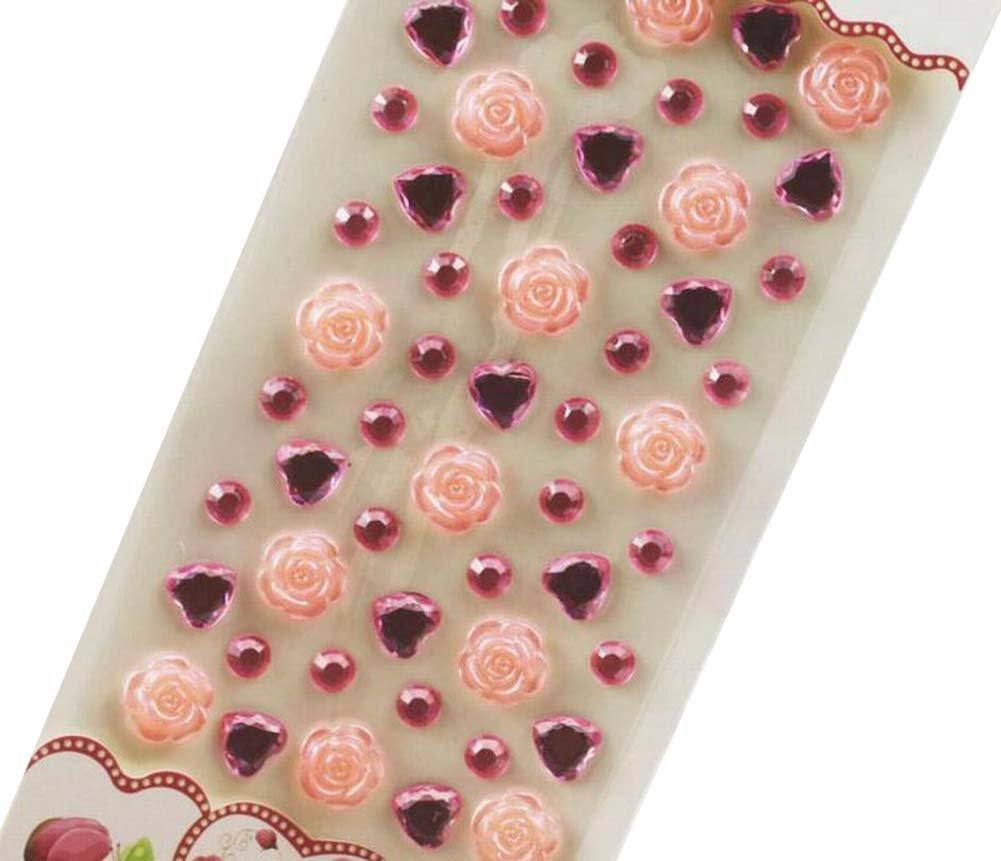 4 Sheets Acrylic Rhinestone Stickers DIY Crafts Stickers, Flowers-3