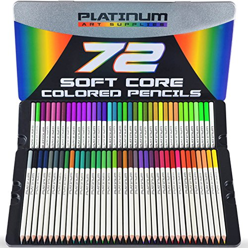 (Platinum Soft Core Colored Pencils with Tin Case, Pack of 72)