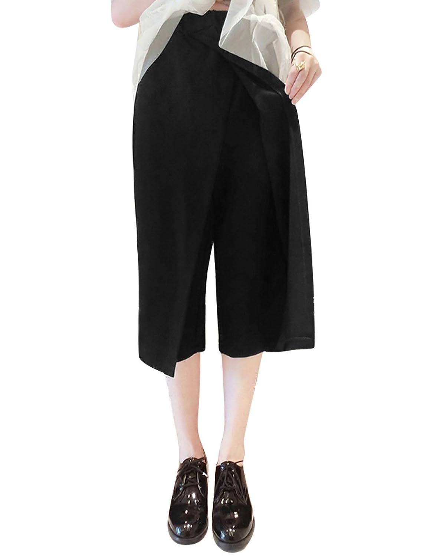 Woman Cross Front Wrap Elastic Waist Wide Leg Capris Pants
