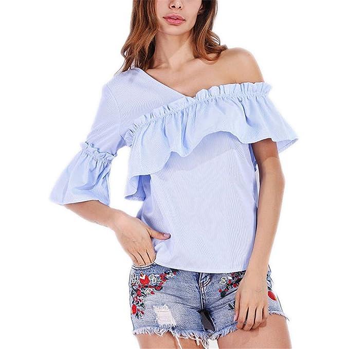 Blusa con Rayas de Hombro de Hombro Camisa Blusas de Mujer Blusa con Volantes de Manga