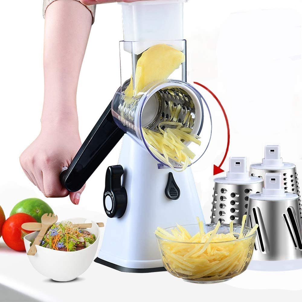 Rotary cheese grater, manual multi-function cutter, with 3 stainless steel blades, grater, very suitable for potato grater, vegetable slicer, cheese grinder (white)