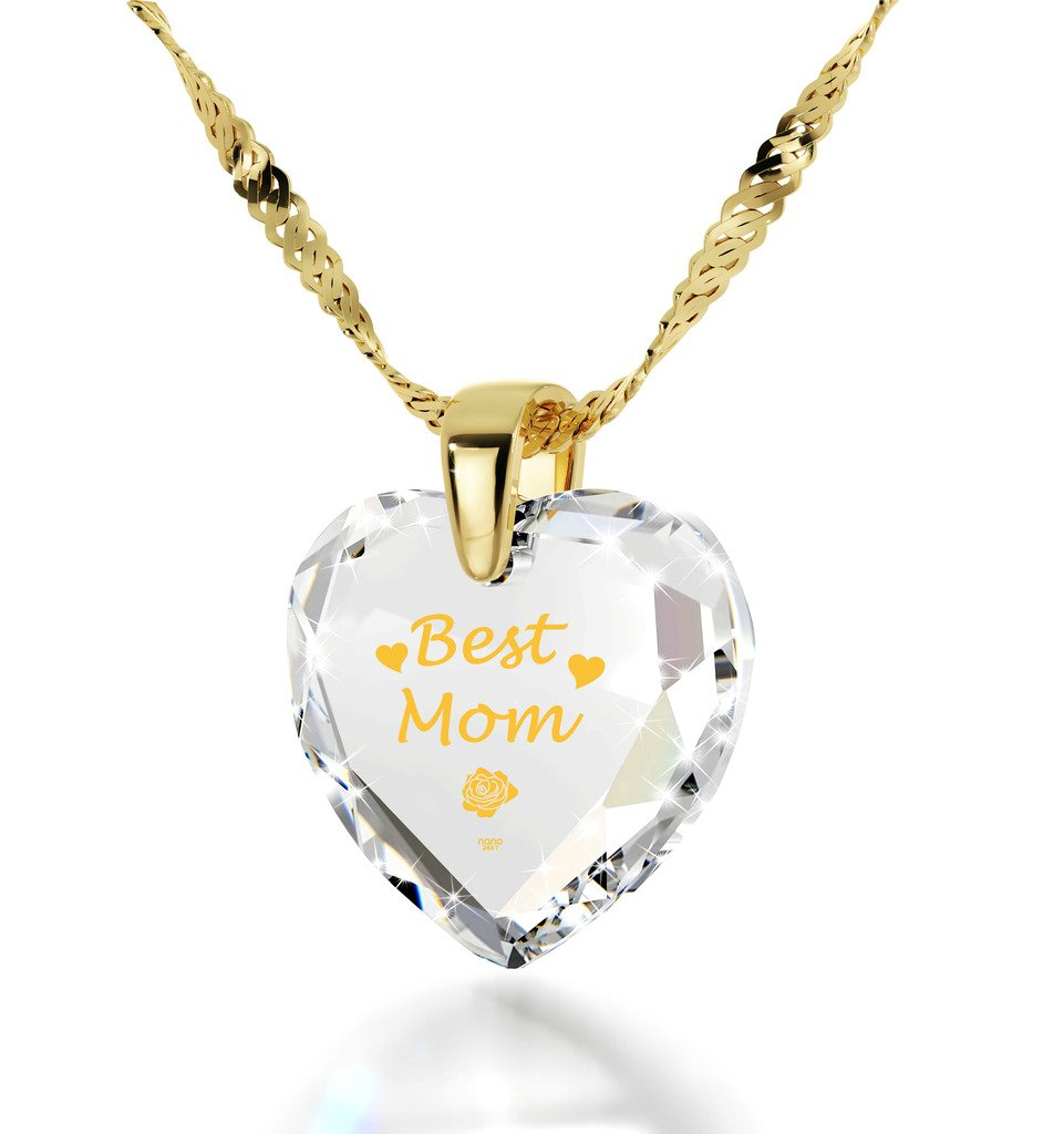 Gold Plated Best Mom Necklace - Heart Pendant Inscribed in 24k Gold on White Cubic Zirconia