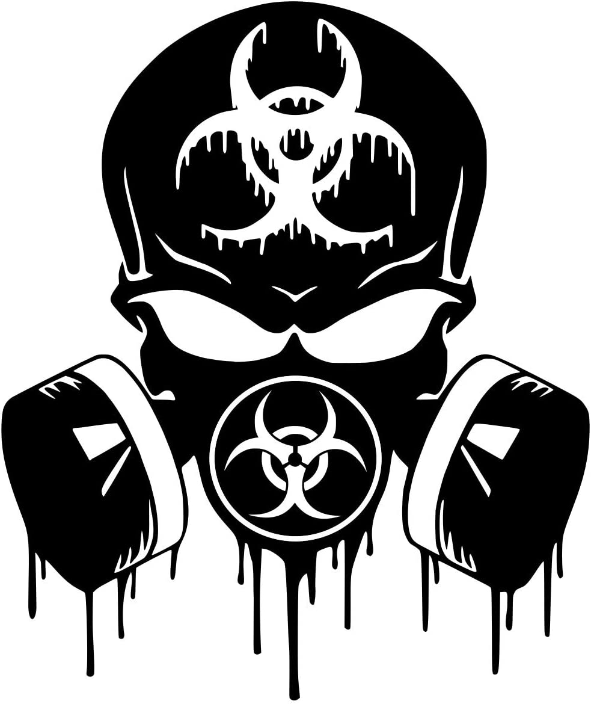 Blk Skull Dripping Biohazard Respirator Decal Vinyl Sticker Graphics|UR Impressions|Cars Trucks SUV Vans Walls Windows Laptop|Black|5.5 X 5 Inch|URI349-B