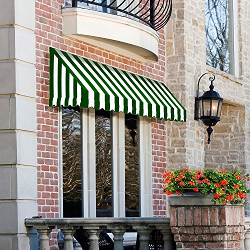 Awning Stripe Yarn (Awntech 8-Feet San Francisco Window/Entry Awning, 56-Inch Height by 48-Inch Diameter, Forest Green/White)