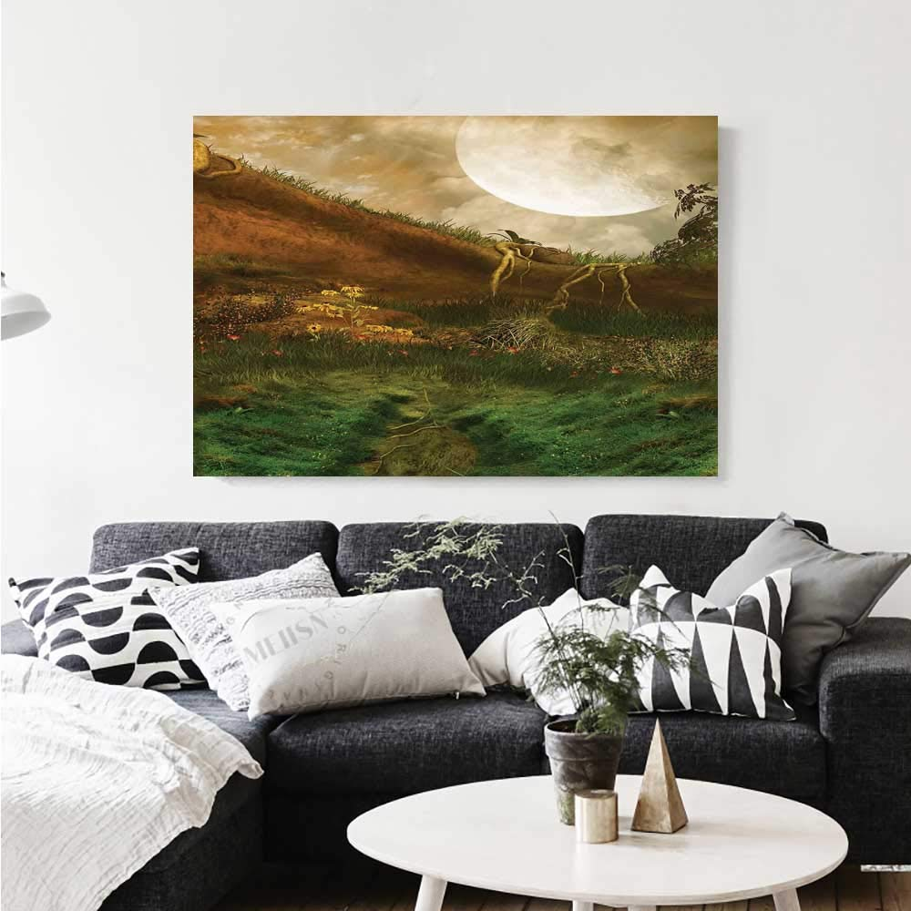 Warm family nature canvas wall art for bedroom home decorations exquisite valley with giant full moon sky enchanted fantasy scenery wall stickers 36x32