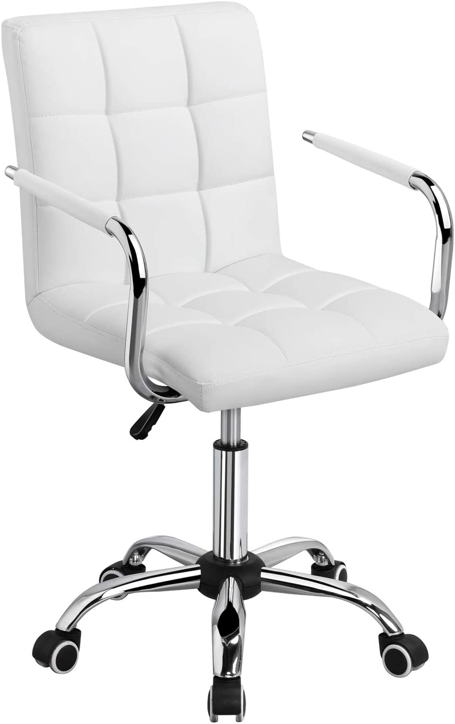 Yaheetech White Desk PU Leather Office Chair