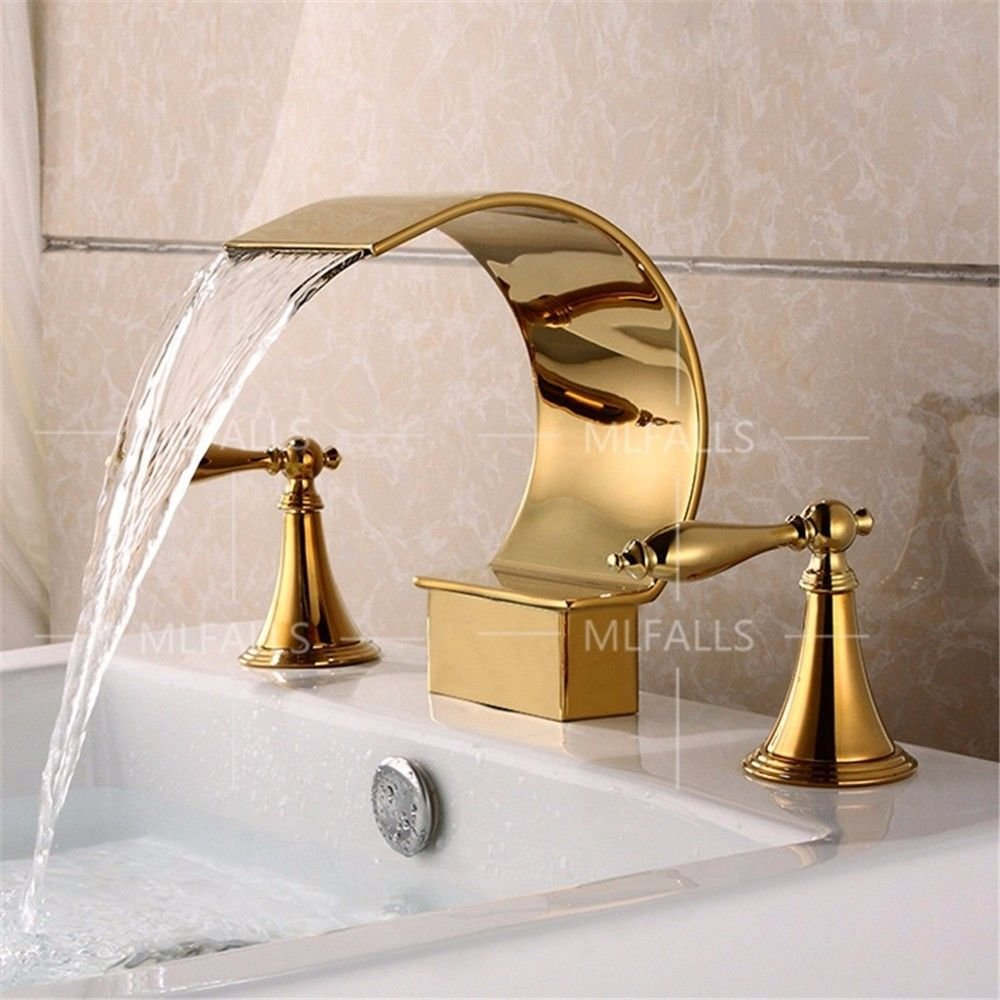 Lpophy Bathroom Sink Mixer Taps Faucet Bath Waterfall Cold And Hot Water Tap For Washroom Bathroom And Kitchen Vintage gold-Plated Brass Chrome Double Handle Three-Hole Curved Stainless Steel Waterfall