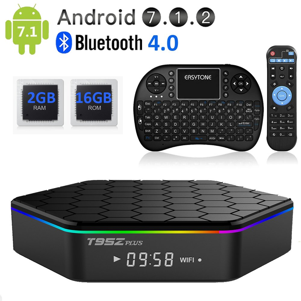 EASYTONE T95Z PLUS Android TV Box,Octa Core Smart TV Box 2GB RAM 16GB ROM Android 7.1 Amlogic S912 Support 2.4G/5G Dual Wifi/1000M LAN/BT 4.0/4K Resolution/3D TV Boxes with Mini Wireless Keyboard