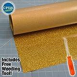 Siser Glitter Gold Easyweed Heat Transfer Craft Vinyl Roll Including Stainless Steel Weeding Tool (5ft x 10'')