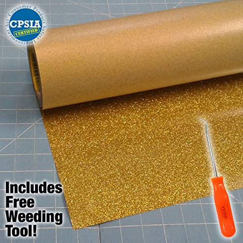 Siser Glitter Gold Easyweed Heat Transfer Craft Vinyl Roll Including Stainless Steel Weeding Tool (5ft x 10'') by Siser