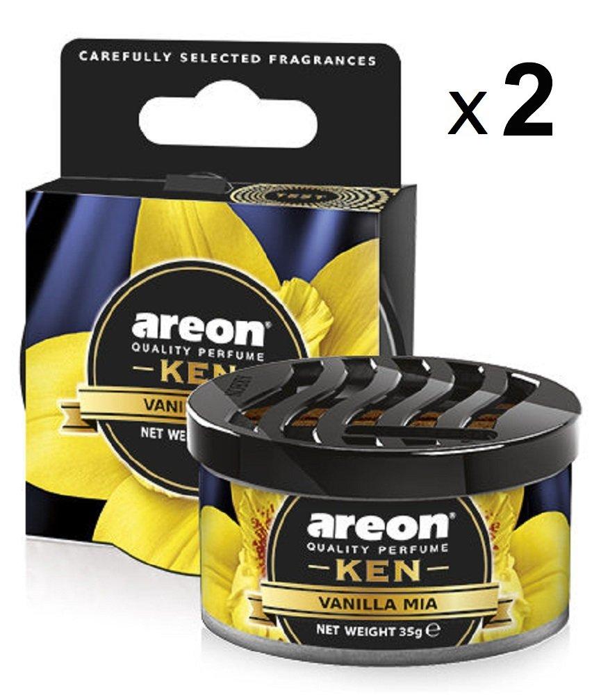 Areon Ken Deodorante Auto Vaniglia Mia Dolce Ambiente Profumatore Contenitore Scatola Originale Profumo Interni Casa 3D ( Vanilla Mia Set x 2 ) Balev Corporation Ltd