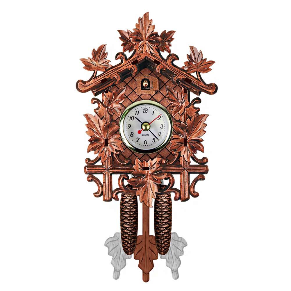 QZY Cuckoo Wall Clock Bird Alarm Clock Wood Hanging Clock Time For Home Restaurant Unicorn Decoration Art Vintage Swing Living Room,A [Energy Class A] OOFAA