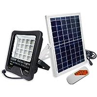 UISEBRT - Foco solar LED para exterior (50 W/100 W, luz de seguridad, luz blanca fría, resistente al agua, IP66, para garaje, jardín, hotel, deportes, patio)